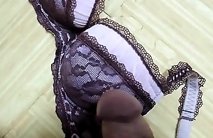 Cumshot On My Sisters Pink Leopard print Bra With Black Lingerie