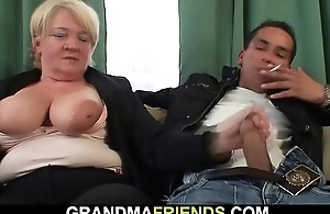 Two buddy fuck boozed blonde granny from both ends