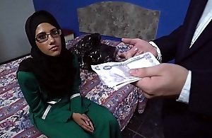 Gorgeous arab babe blows two big dicks to earn extra