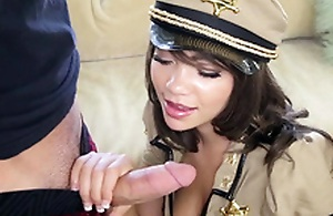 Cassidy Banks wearing a revealing police officer uniform sucking meaty piston